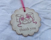 Set of 12 Baby Girl Shoes Thank You Tags - Baby Shower  -  Favor Tags