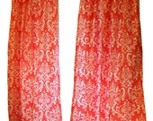 CLEARANCE Damask Curtains- Pair of Drapery Panels- Premier Prints Coral Ozborne Curtains- 50W x 63L inch Drapes- Modern Home Decor