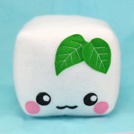Tofu plush toy pillow cushion plushie food pretend play kawaii