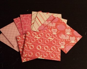 10/Ten Handmade Decorative Valentine's Day/Holiday Papercraft/Stationary/Envelopes Size 4 Bar -Hearts, February, Frog, Love, XOXO, Red, Pink