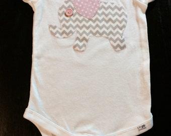 Baby Girl Chevron Elephant Onesie or T-Shirt