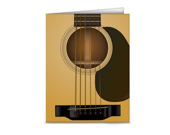 Acoustic Guitar Blank Note Cards (6 cards, 6 envelopes)
