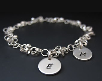 Sterling Silver Initial Charm Bracelet - Hand Stamped Letters