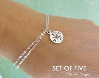 Bridal jewelry gift set of FIVE: bracelets, best friends, bridesmaid gifts, bridesmaid thank you, wedding jewelry, sisters, Compass
