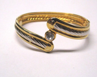 Vintage Retro Two Tone Crystal Rhinestone Bypass Bangle Bracelet, Modernist or Minimalist Design Bracelet