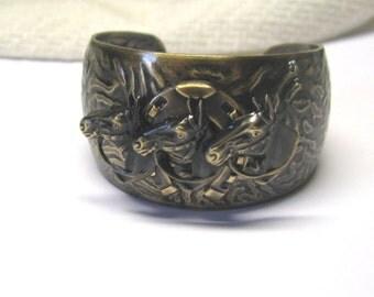 Brass Race Horse & Horse Shoe Cuff Bracelet, Equestrian Cuff Bracelet, You Choose Color, Aged Brass Or Silver Ox