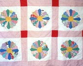 Dresden plate quilt, 1950s hand stitched and machine stitched square quilt on sale
