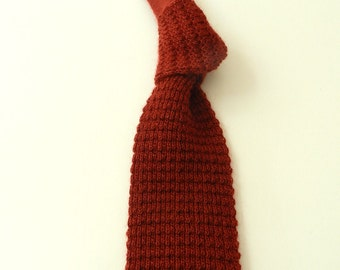Vintage Retro Flat Bottom Square End Knit Mohair Wool Tie Rooster Rufflernit BRICK RED