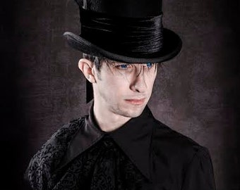 Gothic top hat Raven black
