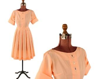Vintage 1950's Pastel Sherbet Orange Mid Century Pin Up Full Pleated Skirt Dress S