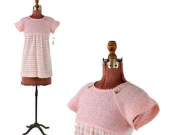 Vintage 1970's Sheer Pale Pink Knit Baby Doll Mini Stripe Dolly Shift Dress S NOS