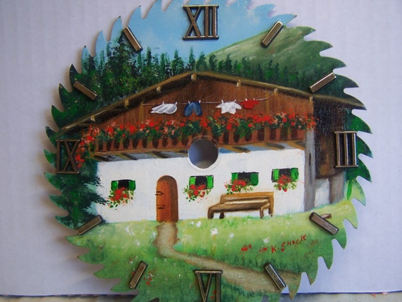 CLEARANCE ~  Hand Painted Saw Blade, Clock Faces, Scenic House