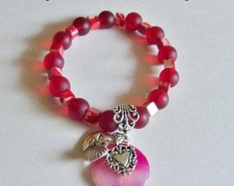 Sediment Agate Red White Cultured Sea Glass Charm Bracelet