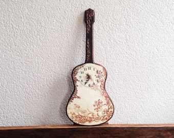 Guitar Wall Clock, Copper Flower Swirls, Melody Decor, Rustic brown, Guitar for the Music Lover, Dorm Decor