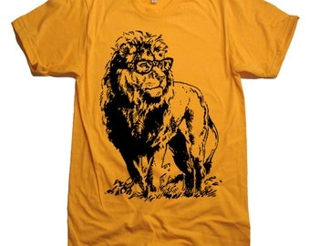 Lion with Glasses Tshirt / Nerdy School T-Shirt / American Apparel T shirt / Size & Color Options