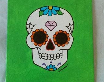 Lime Green Sugar Skull Canvas Painting