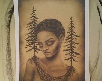 Art Print- Girl with Evergreen Trees 9x12