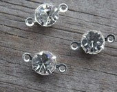 12 Silver Rhinestone Connector Charms 11mm
