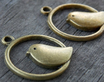 6 Bronze Bird Charms 24mm Antiqued Bronze Bird In Circle Charms