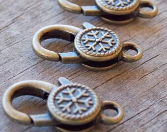 3 Bronze Snowflake Lobster Clasps 25mm Antiqued Bronze
