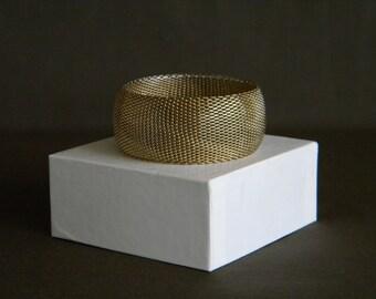 Vintage GOLD MESH BANGLE 1970's Fashion Bracelet