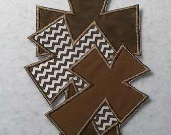 Triple Cross (large) - Tutu & Shirt Supplies - fabric iron on Applique Patch 6868
