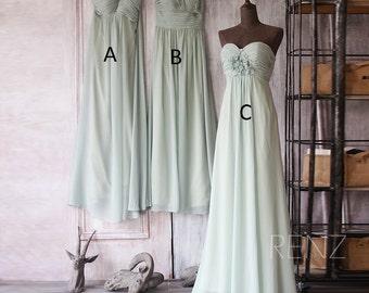 2017 Mix and Match Bridesmaid Dress, Backless Empire Wedding Dress, Long Rosette Dress, Dusty Shale Formal Dress Floor Length (F081~83)