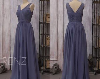 2016 Chiffon Steel Blue Bridesmaid dress, Long Wedding dress, V neck Party dress, Formal dress, Maxi dress floor length (F150)