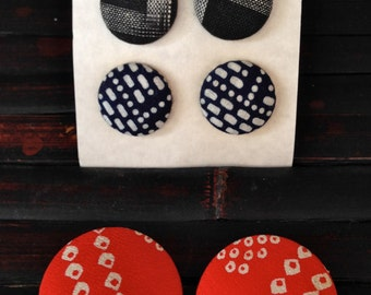 Vintage Japanese Shibori and Ikat fabric button shaped pierced earrings - 3 pair