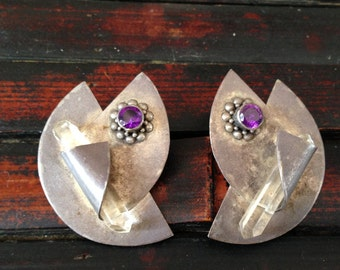 Sterling Amethyst and Crystal Pierced Earring