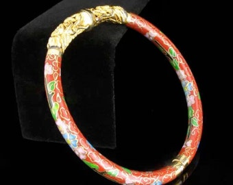 Beautiful vintage red cloisonne dragon bracelet
