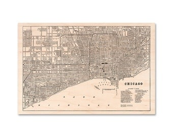 """Chicago Map on Wood, 20 x 30"""" maple wood map, Chicago Wall Art City Map"""