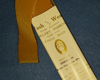 Vintage Velvet Crush Resistant Faille Back Ribbon - by the yard - mustard yellow
