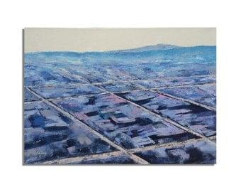 """Towards Las Vegas -  Original oil painting painting - blue, purple, gray - Ready to Hang - 19,7"""" x 27,6"""""""