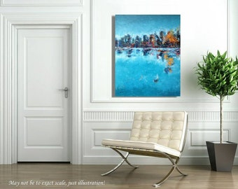 "The Boat - Blue, turquoise, orange abstract landscape painting - Ready to Hang -  27,6"" x 39,4"""