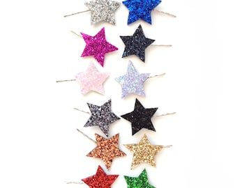 Glitter Star Bobby Pin Pair
