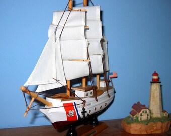 "Wooden COAST GUARD Bark EAGLE Model Ship 9"" Long- Fully Assembled"