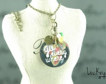 Custom Vintage Globe Necklace - Travel Necklace - Unique Charm Necklace