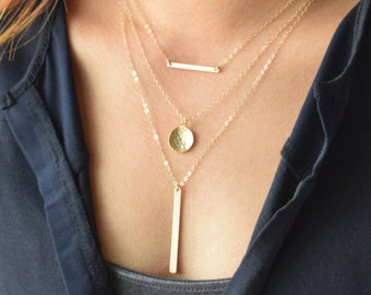 Layered bar necklace set  - layering necklaces - gold filled - 1323