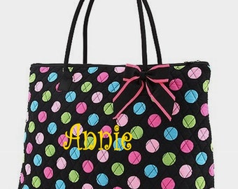 Personalized Large Tote Bag Polka Dot  on Black Quilted Overnight Bag Monogrammed FREE
