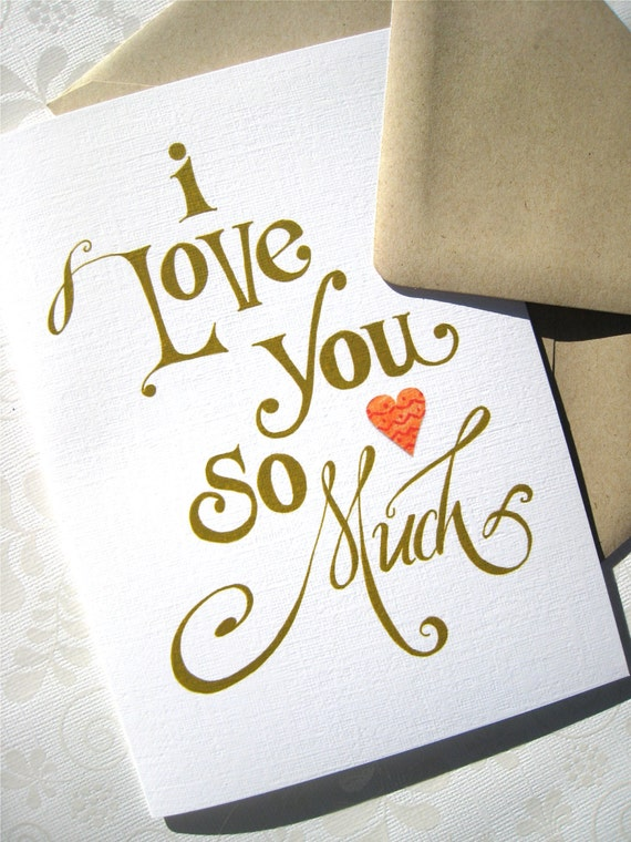 I love you calligraphy card romantic anniversary card I love you calligraphy