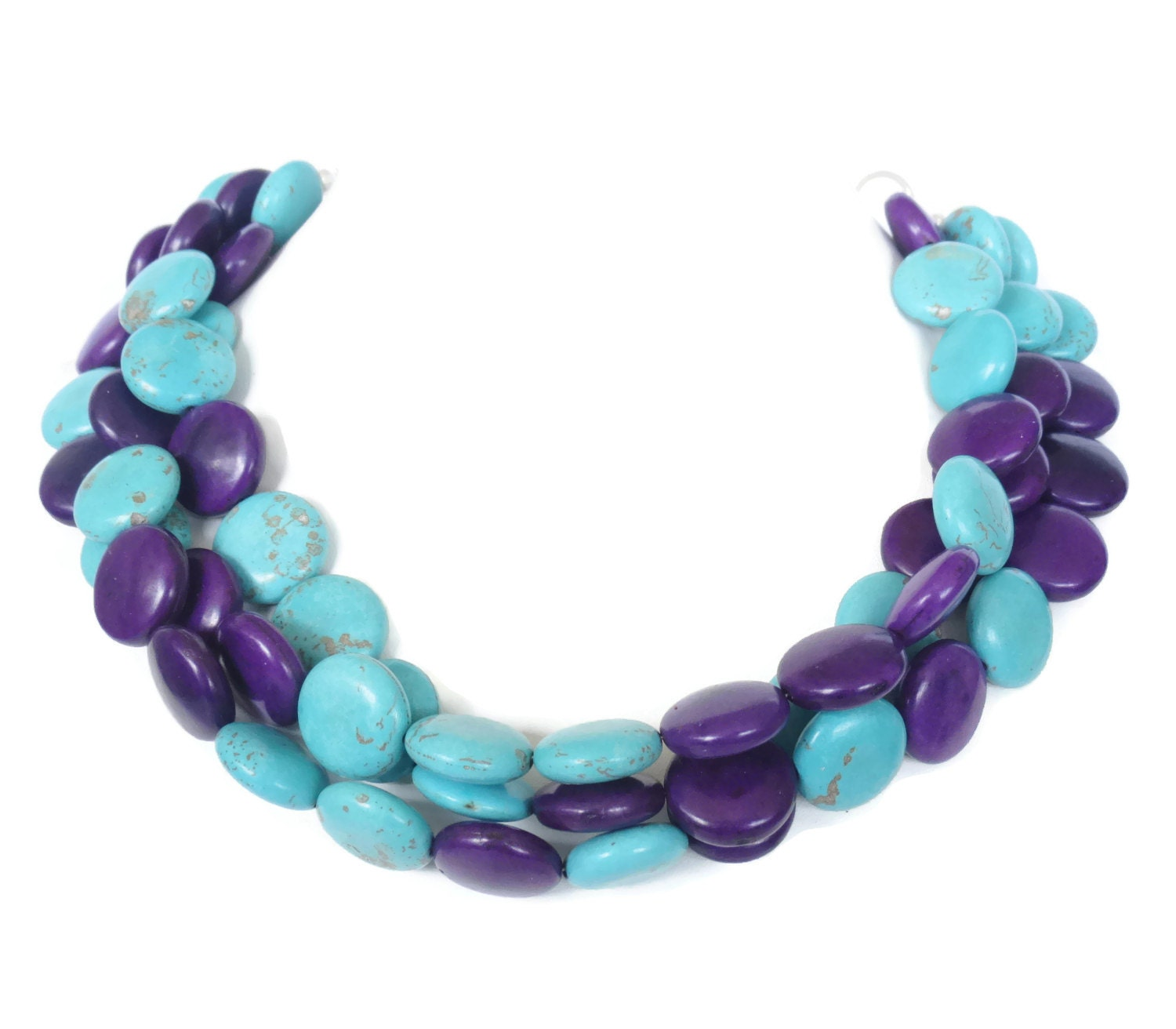 purple and turquoise necklace purple and by