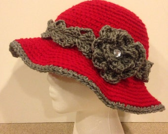 Crochet Red Floppy Hat with Heather Gray Trim