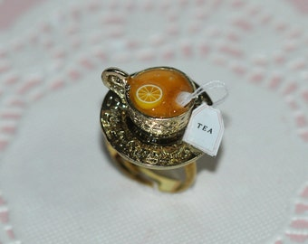 Tea Party Ring - Food Ring - Miniature Food Jewelry - Tea Party Jewelry - Tea Time Ring