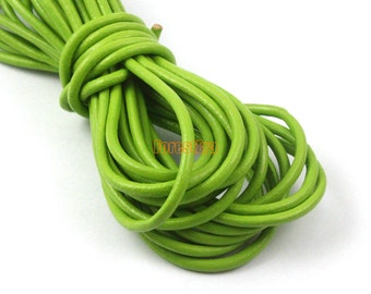 5 Yards 3mm Leather Cord Lawn Green Leather Belt Round Leather Cord Genuine Leather Cord (YPS20)