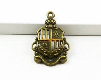 30Pcs Antique Brass badge Charm badge Pendant 28x17mm (PND877)