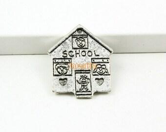20Pcs Antique silver house Charm school house Pendant 23x20mm (PND894)