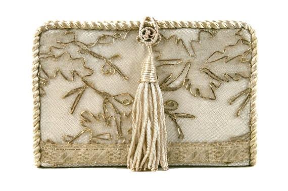 Antique Silver Lace Wedding Clutch  8710