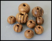 100 Burly WOOD 8mm Round Spacer Beads - Natural BROWN w/ Large Hole 2mm Swirl Wooden Beads - USA Wholesale Beads - Instant Ship - 5976