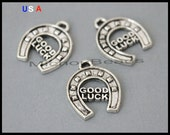 1 Good Luck HORSESHOE Charm - 17mm Silver Lucky Horse Shoe Metal Charm Pendants - Instant Shipping - USa Discount Charm - 6034